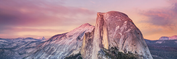 Half Dome, Yosemite National Park Clifornia, sunset light on granite peak