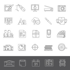 Line Icons - Graphic design and offset printing