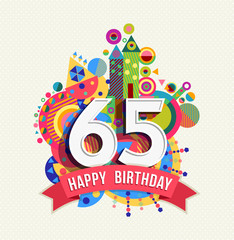 Happy birthday 65 year greeting card poster color