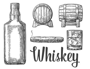 Whiskey glass with ice cubes, barrel, bottle, cigar. Vector vintage illustration. white background.