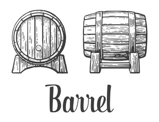 Wooden barrel set. Black and white vintage vector illustration.