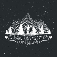 Aluminium Prints Christmas Vector wilderness quote poster with man silhouette, mountains and forest