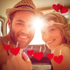 Composite image of hipster couple on road trip