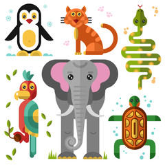 Geometric flat animals: kakadu, elephant, parrot, penguin, turtle, snake, boa, wild cat, bobcat. Flat vector illustration set.