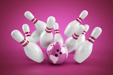 Bowling Strike pink - Weltkugel Ball und Pins