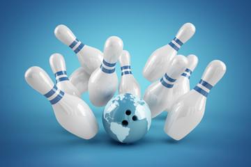 Bowling Strike blau - Weltkugel Ball und Pins