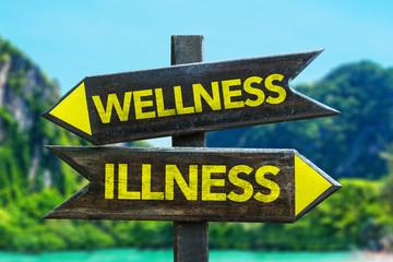 Wellness - Illness signpost in a beach background