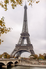 Eiffel Tower, Paris on a misty autumn day