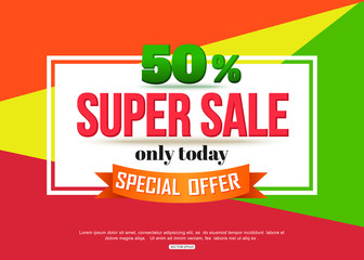 Super Sale banner on colorful background. Geometric design. Super Sale and special offer. 50% off.