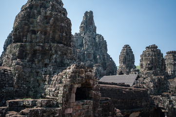 View of the top of Bayon Temple ruins at Angkor wat, cambodia