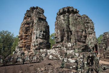 Carved stone heads of Bayon temple, Angkor Wat, Cambodia