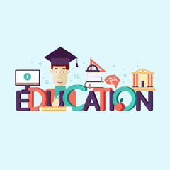 Education, on-line education, on-ine learning. Typographic poster. Banner. Flat design vector illustration.