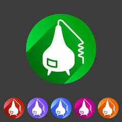 Distillation apparatus icon flat web sign symbol logo label