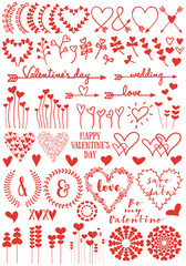 Heart flowers, vector set