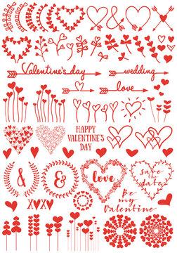 Heart flowers, vector set