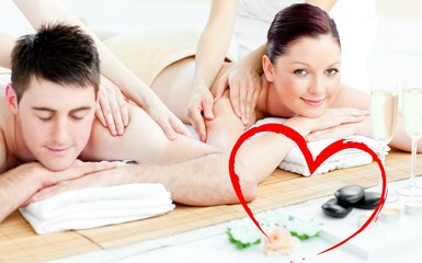 Young couple enjoying a back massage