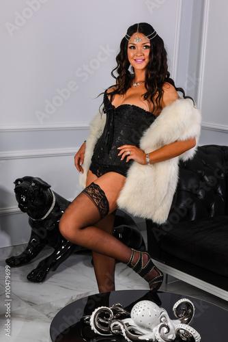 3ad32f2c5 Beautiful lady in elegant fur coat