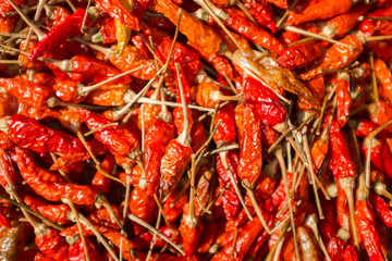 Karen hill tribe chilli's drying in the sun