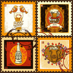 Valentine's Day  postage stamps set for beer theme.Set contains images of different beer label for Valentine's Day.