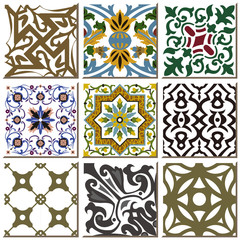 Printed kitchen splashbacks Moroccan Tiles Vintage retro ceramic tile pattern set collection 023