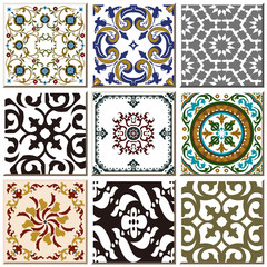 Fotorolgordijn Marokkaanse Tegels Vintage retro ceramic tile pattern set collection 025