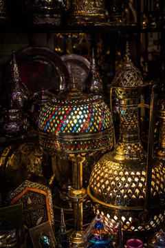 Moroccan lanterns for sale in the souk in Marrakesh