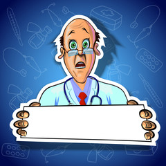 Vector image of astonished doctor with blank poster