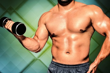 Composite image of mid section of a bodybuilder with dumbbell