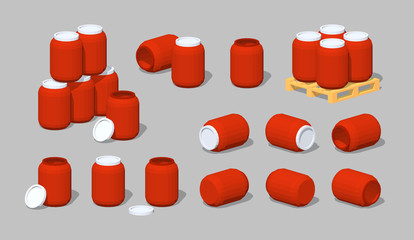 Cube World. Red plastic barrels