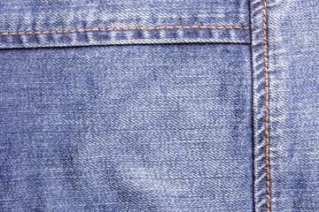 Blue jeans sew closeup texture.