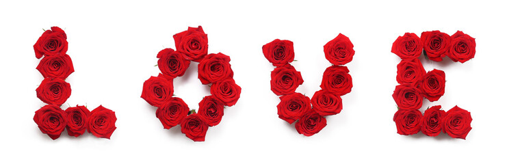 The word love made of roses