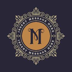 Monogram emblem insignia. Calligraphic logo ornament vector design