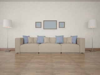 The interior living room with a sofa.
