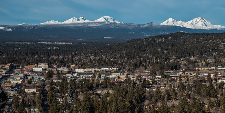 Skyline of Bend, OR and the snow-covered central Oregon Cascade Range