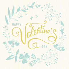 Valentine's Day Floral Card Ivory