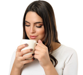 Portrait of pretty woman with cup of coffee isolated on white background