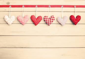Vintage hanging stuffed hearts