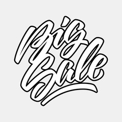 White Big Sale handmade lettering, graffiti style italic calligraphy with outlines for logo, design concepts, banners, labels, prints, posters, web, presentation, stickers. Vector illustration