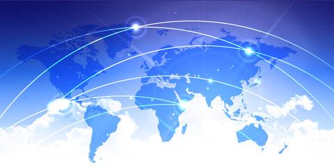 世界地図 空 テクノロジー 背景
