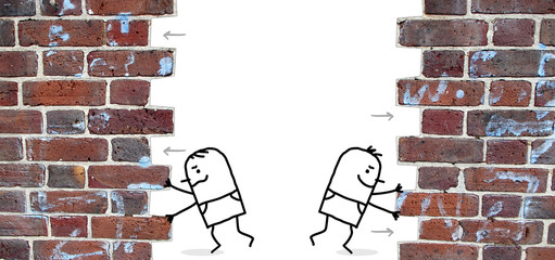 two cartoon men pushing and open up a wall