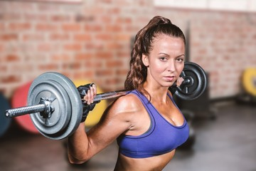 Composite image of portrait of fit woman lifting crossfit