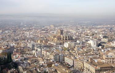 Bird eye view of Granada old town