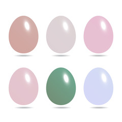 Easter eggs set in pastel color isolated on white background vec