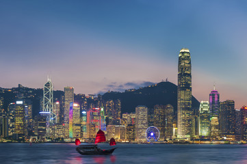 Panorama of Victoria Harbor in Hong Kong at dusk