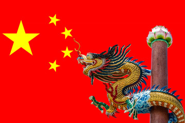 PRC Flag (China) with Dragon Sculpture