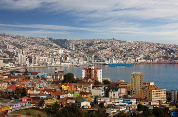 aerial view of town of Valparaiso Chile