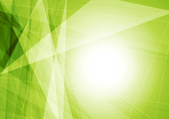 Bright green geometric shapes tech background