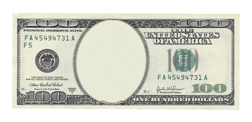 Blank one hundred dollar banknote isolated on white