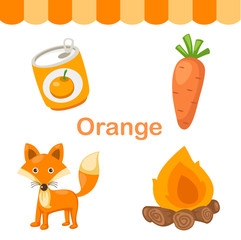 Illustration of isolated color orange group