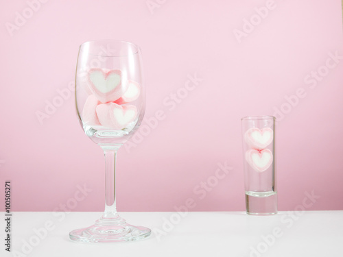 The lovely pink heart marshmallows in wine glass and for Table 52 valentine s day